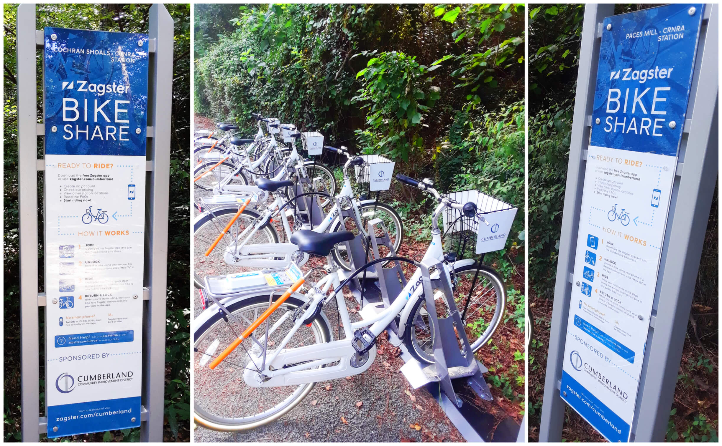 Zagster Bikes at Cochran Shoals Paces Mill CRNRA Station